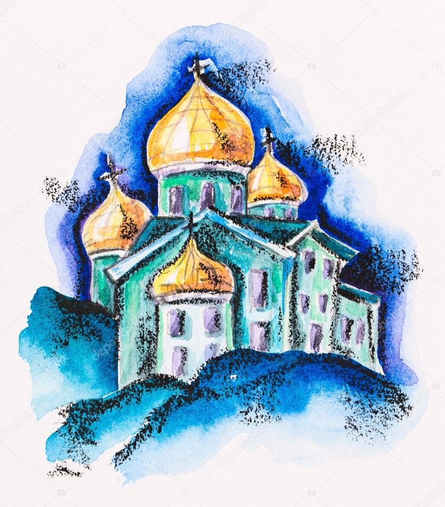Храм, здание с золотой купол, акварель с Шифер карандаш — стоковое фото