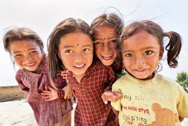 NAGARKOT, NEPAL - APRIL 5: Portrait of unidentified playful litt