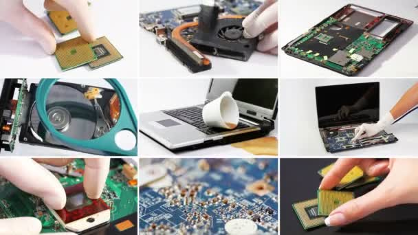 koláž hardwaru počítače (notebooku) a součástí