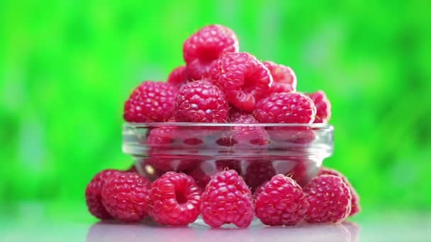 Raspberry fruit heap rotating on green outdoor background