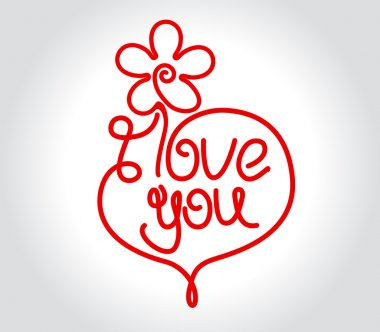 Flower and heart design with I Love You title for Valentines day or wedding clip art vector