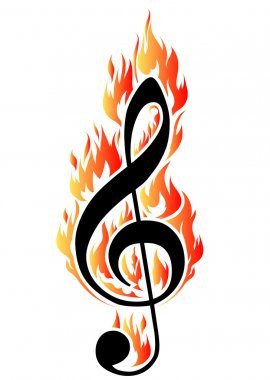 Treble clef in fire.