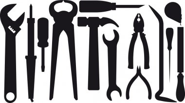 Set of silhouettes of tools stock vector