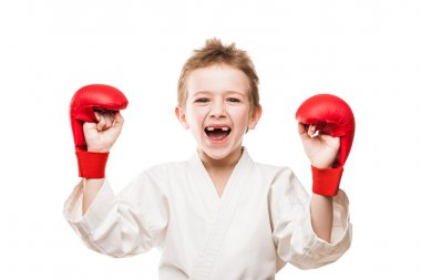Smiling karate champion child boy gesturing for victory triumph