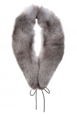 Fur collar or shawl isolated on white