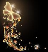 Zářící pozadí s květiny a motýl