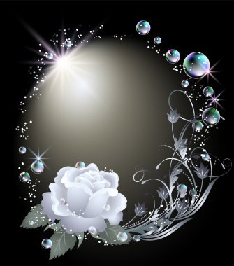 Glowing background with rose, stars and bubbles stock vector