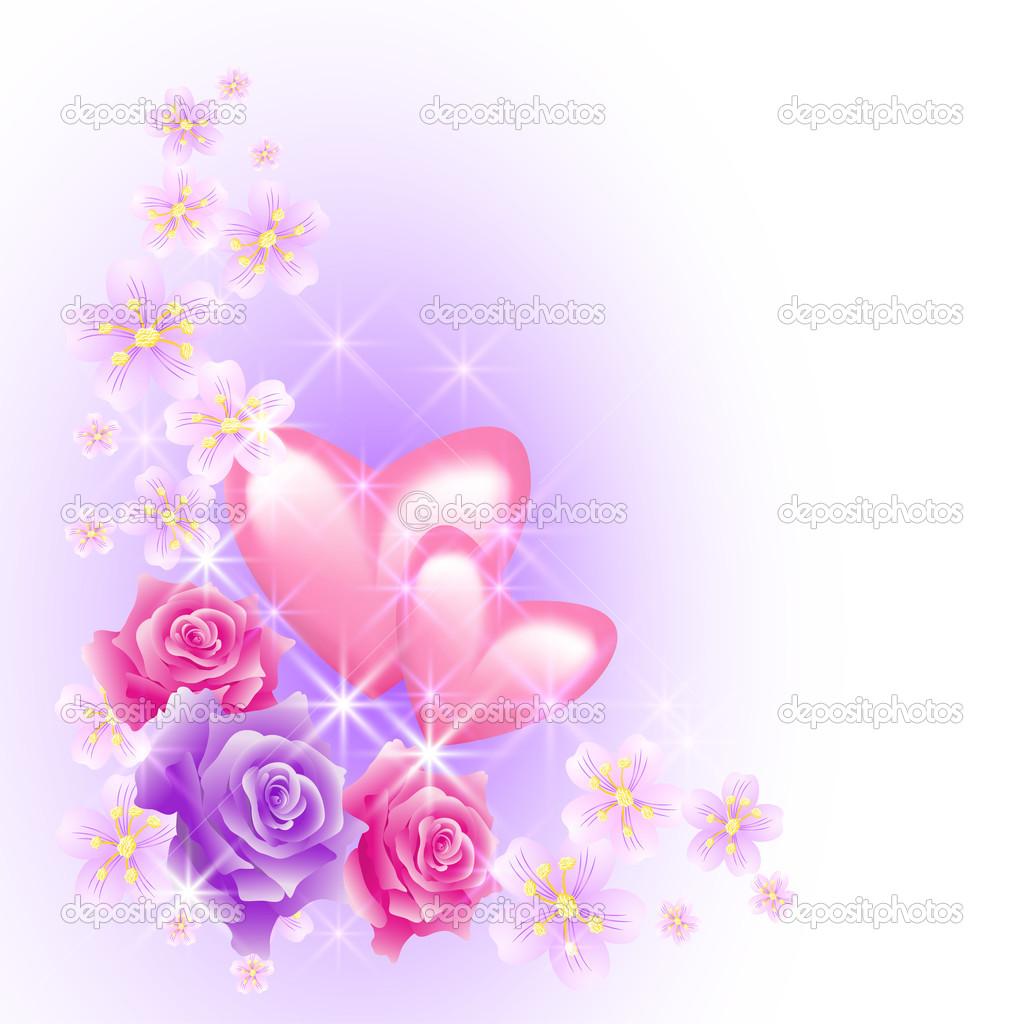 corazones de color rosa con flores — Vector de stock © Marisha #19017185