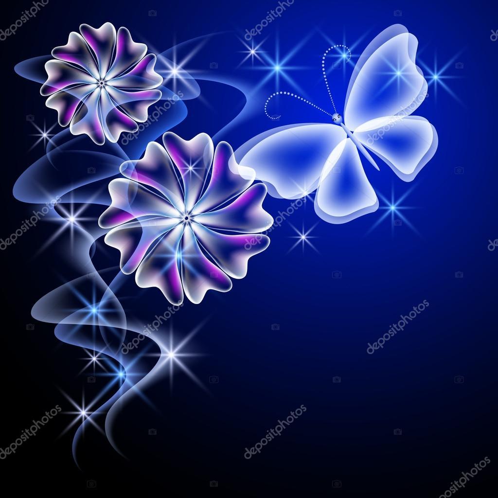Flores Brillantes Con Movimiento Mariposa Y Flores Brillantes