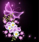 květiny a transparentní motýl