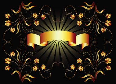 Golden ribbon on dark background