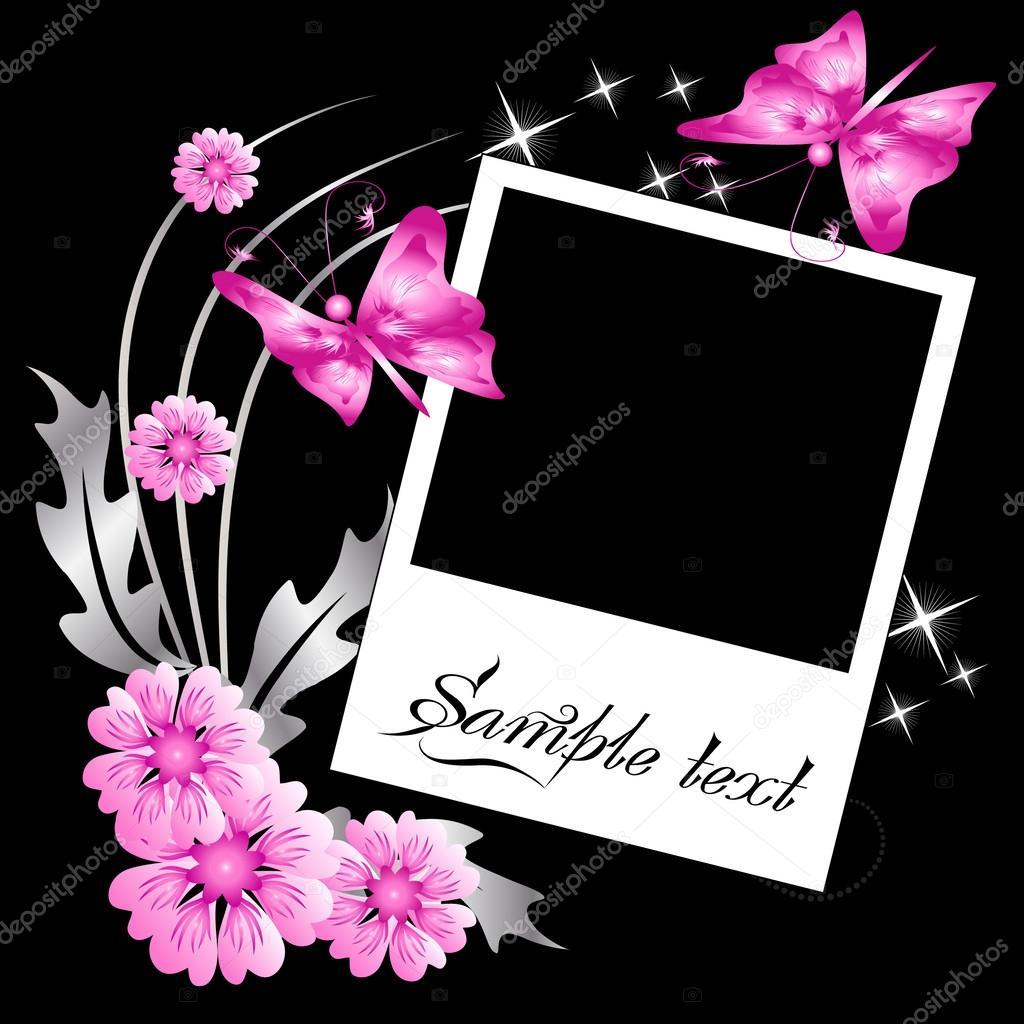 stránky rozložení fotoalbum s květiny a motýl — Stock Vektor ... 318538c03c