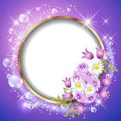 kulatý rám a květiny