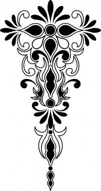 Vertical and symmetrical decorative ornament
