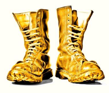 golden combat boots