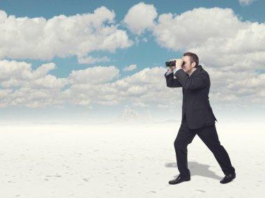 Businessman loo with classic binoculars stock vector