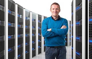 man in datacenter