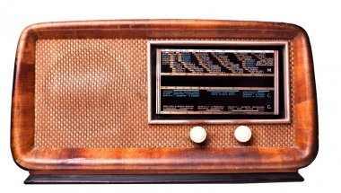 Classic wood radio isolated on white background stock vector