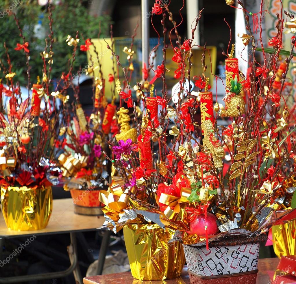 Chinesisches Neujahr-Dekorationen und Glück Symbole — Redaktionelles ...