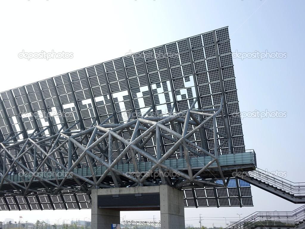 Giant Solar Panel Wall In Taiwan Stock Editorial Photo