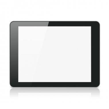 Black Tablet Computer or Reader on White Background
