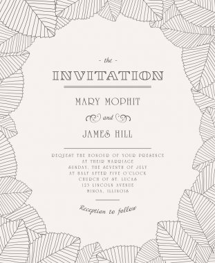 Vintage invitation with ornaments of leaves