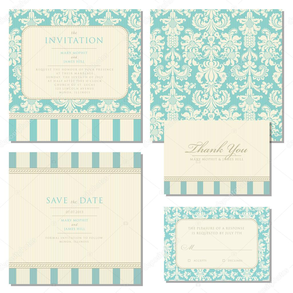 Set of wedding invitations and announcements with vintage backgr