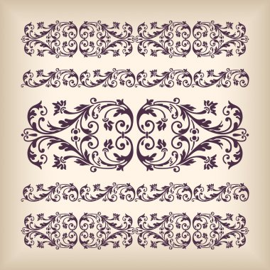 Vector set vintage ornate border frame with retro ornament pattern in antique baroque style. Arabic decorative calligraphy design high quality stock vector