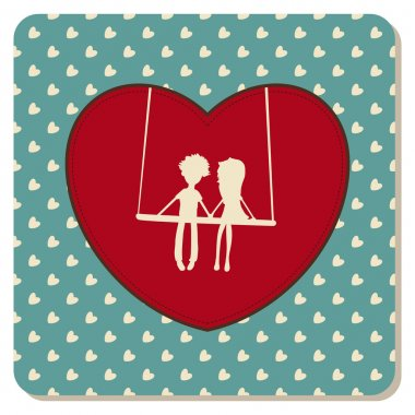 Vintage card with girl and boy clip art vector