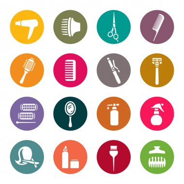 Hairdressing equipment icons clip art vector