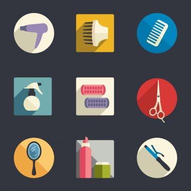 Hairdressing equipment flat icon set