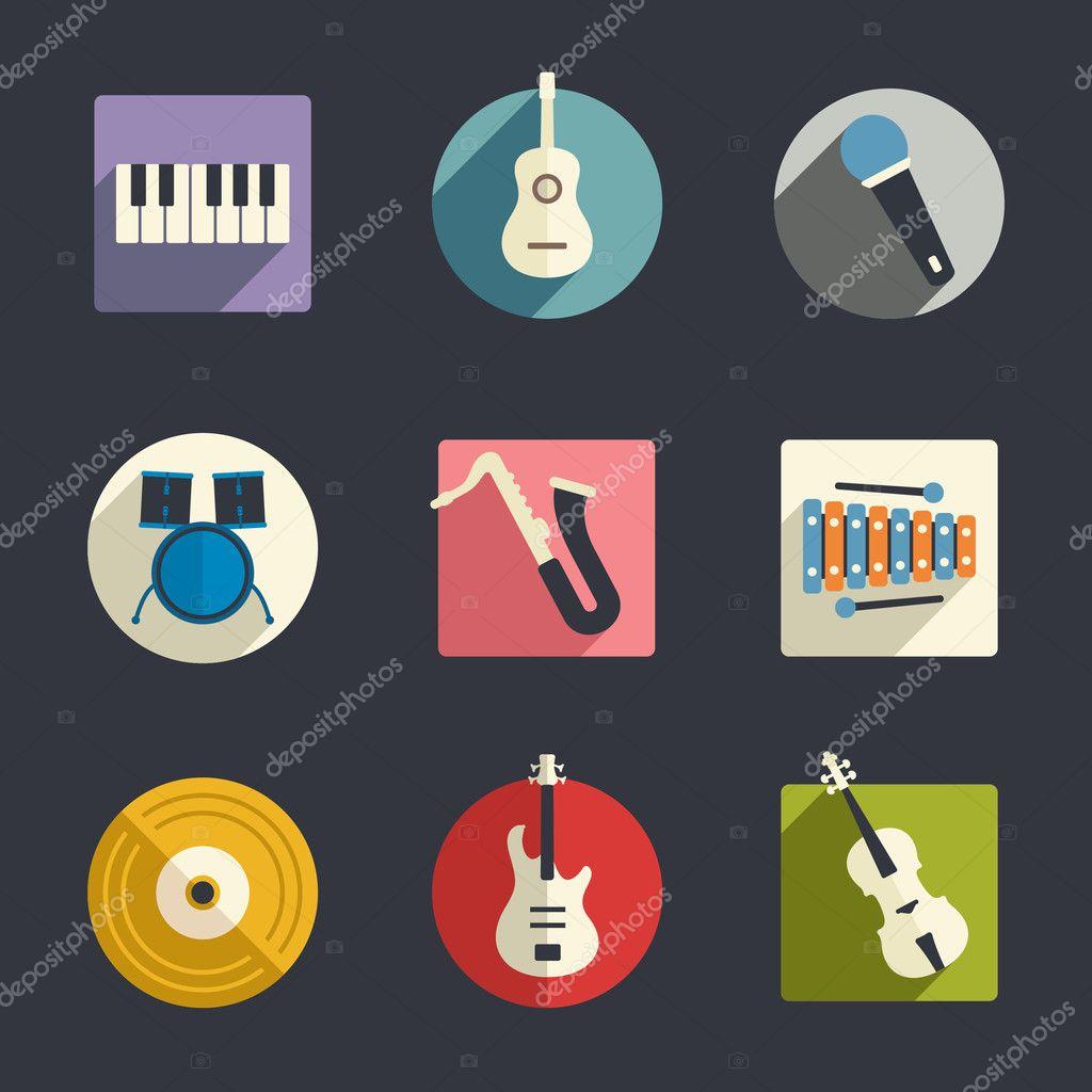 Flat music icons