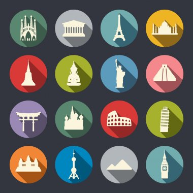 Famous travel landmarks flat icon set.