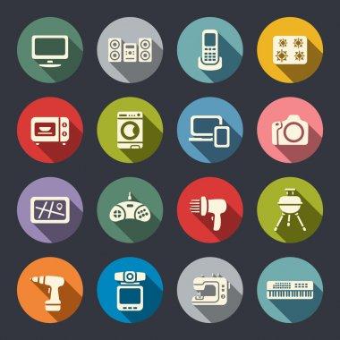 Electronics flat icon set