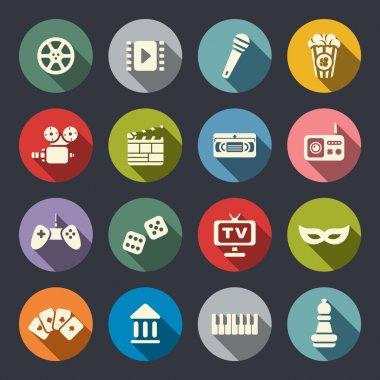 Multimedia flat icon set clip art vector