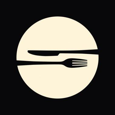 Restaurant emblem. Fork and knife.