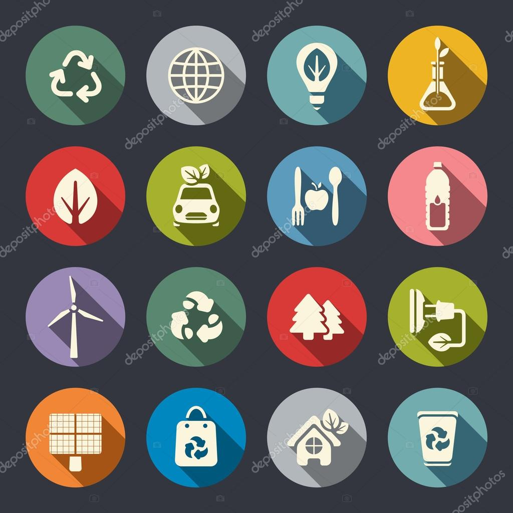 Eco theme flat icons set