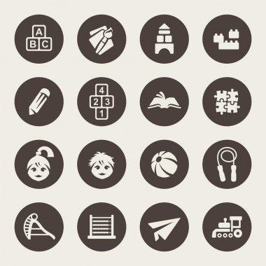 Preschool vector icons set