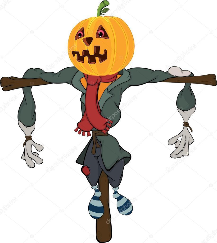 Cartone animato di spaventapasseri zucca halloween