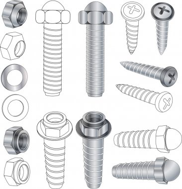 The complete set bolts and nuts Clip-Art