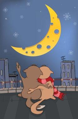 Cats and the moon. Cartoon