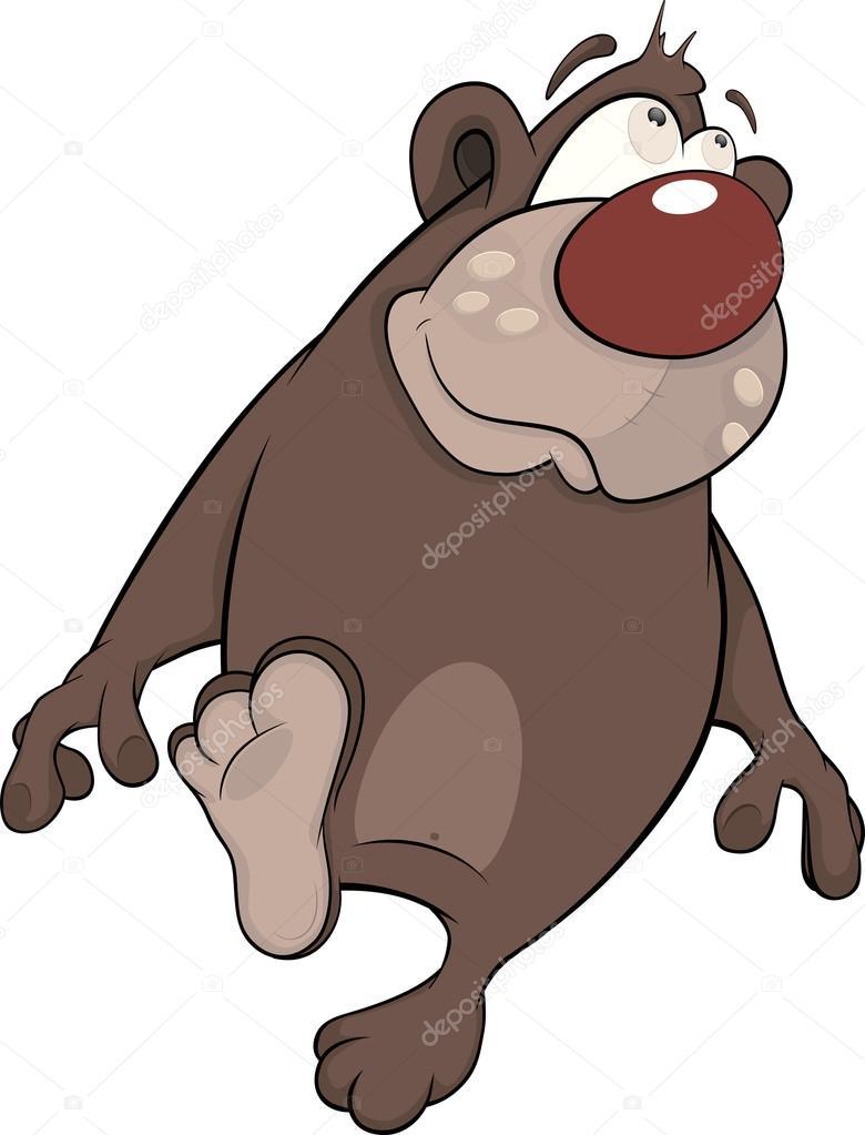 Vettore: orso bruno cartone orso bruno. cartone animato