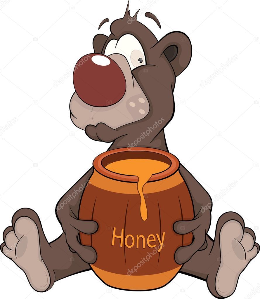 Orso e un barilotto in legno con miele cartone animato