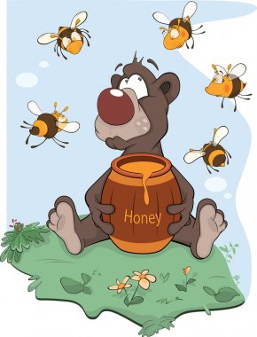 Bear and a wooden keg with honey