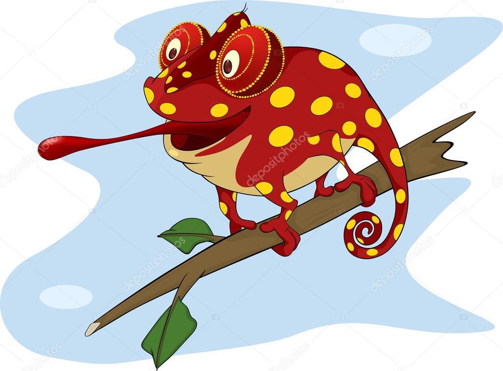 desenho de camaleão vermelho grande vetores de stock liusaart