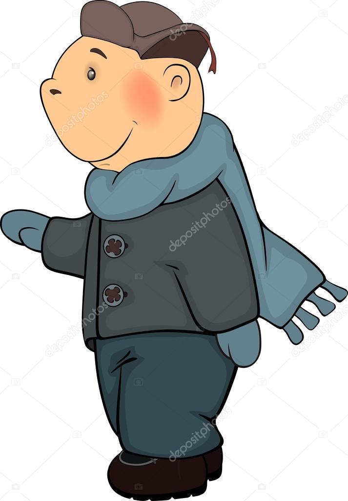 Un ragazzo in cappotto di inverno e cartone animato