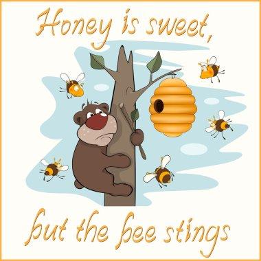 Bear and bees postcard