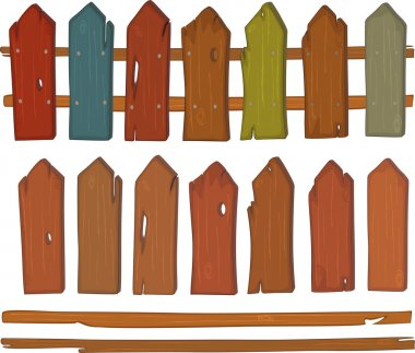 Wooden fence cartoon
