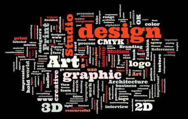 Graphic design studio. Trendy print concept word cloud stock vector