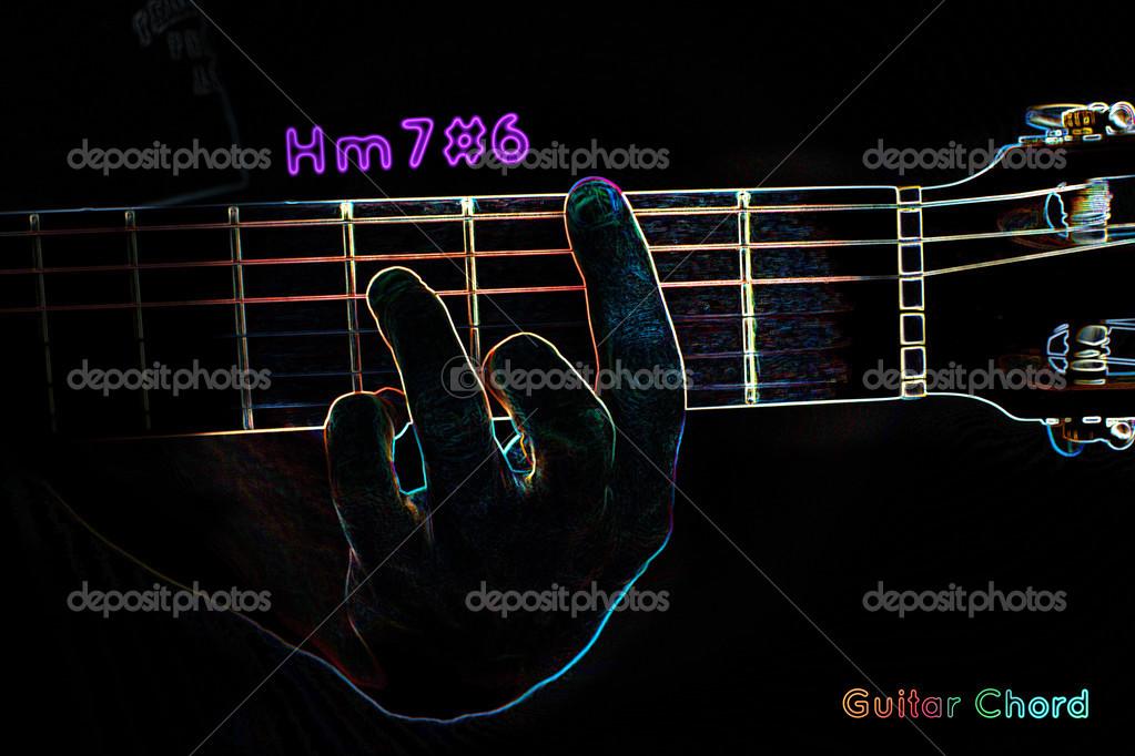 Guitar chord on a dark background — Stock Photo © mpavlov #39911235